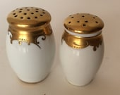 White and Gold Salt and Pepper Shakers Gold Metallic S & P Set Vintage Hollywood Regency Bavaria Mother's Day Gift