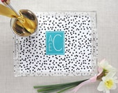 Monogram Lucite Tray | Well Spotted Pattern | Personalized Colors | Acrylic Desktop Organizer