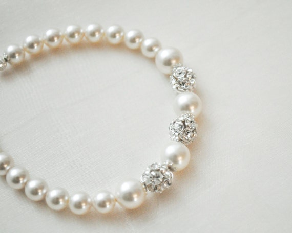 Bridal Bracelet, Pearl Bridal Bracelet, Swarovski Rhinestone Bridal Bracelet, Bridal Jewelry Bracelet