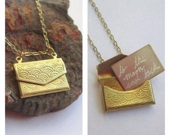 Envelope Locket Necklace with Custom Engraved Letter Inside...Personalized with Your Own Message for Free