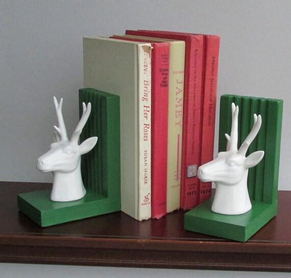 2 bucks handcrafted bookends deer antlers quirky - Deer antler bookends ...