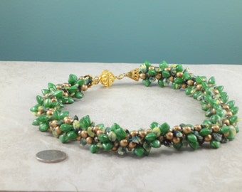 Emerald Green and Gold Czech Glass Kumihimo Necklace with Gold Vermiel Magnetic Clasp