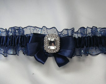 PROM Garter Navy Blue Sparkle Wedding garter tossing Garters