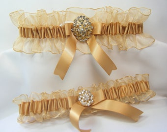 Gold RHINESTONE Wedding prom garters Garter Set