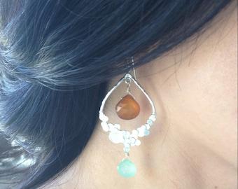 Silver Chandelier Earrings with Faceted Stones, Stone Dangle Earrings, Silver Dangle Earrings, Lightweight Earrings, Bubble Earrings