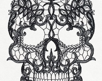 Lacy Skull Machine Embroidered Quilt Block, Panel