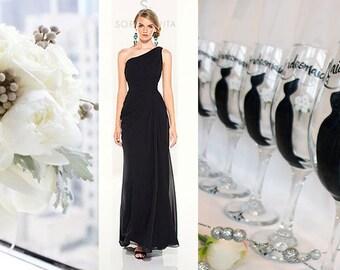 Personalized Bridesmaid Wine Glasses - Hand Painted Wine Glasses - Bridesmaid Wine Glasses - Bridal Party Glassware