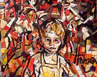A Childhood of Fantasies ~ Mosaic portrait sample from an original oil painting, female, male, custom portraiture,