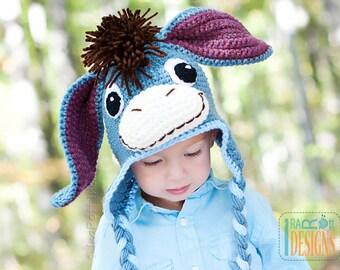 PATTERN Funky Donkey Hat with Tail Crochet PDF Pattern