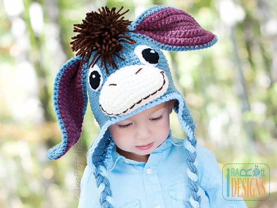 PATTERN Funky Donkey Hat with Tail Crochet PDF Pattern