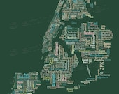 """SALE: New York City Type Map Art Print - 16"""" x 20"""" // Additional Sizes Available"""