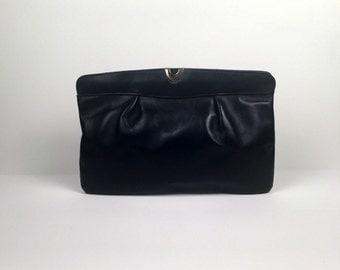 Vintage Navy Blue Leather Clutch Handbag