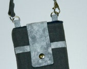 Japanese Linen Grey Batik Leaves Phone Case Pocket and Wristlet iPhone 4 5 6 Plus Note Large