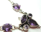 "Amethyst Cluster Pendant and necklace on 17"" Adjustable Sterling Chain"