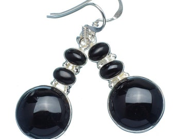 Black Onyx Earrings in Solid Sterling Mounting