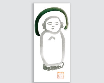 Jizo, Baby Buddha, Zen Brush Sumi e Ink Painting, Original Zen Fine Art, zen decor, japan tea ceremony, childrens room art, yoga, taoist art