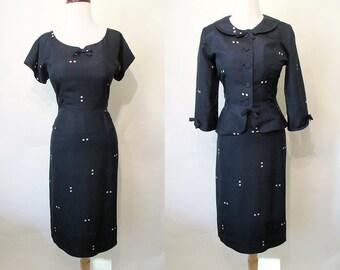 Lovely 1950's Silk Midnight Blue Polka Dot Dress with Matching Jacket Rockabilly VLV Pinup Curvy Hourglass Peplum Size-Medium