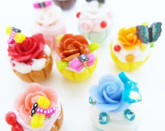 9 pieces of Miniature Rose Cupcake for Dollhouse and Beaded Jewelry