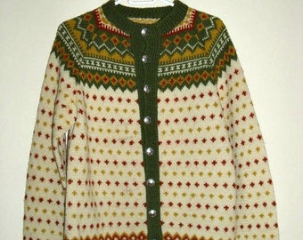 Fair Isle wool sweater.  VINTAGE 60th sweater with 10 original  hand cast Norway  flower burst   pewter buttons.  Unisex.  Ready to ship.