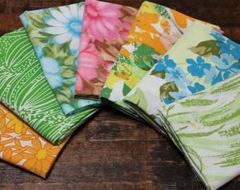 Vintage Reclaimed Fabric fat quarter bundle bed sheet bed linen fat quarter fabric set bright floral butterflies quilt decor fabric 7 FQ set
