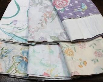 Vintage Pillowcase Bundle vintage bed linens bedding vintage 1980's pillowcases butterflies Hanae Mori butterfly purple retro bedding fabric