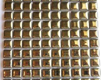"100 MINI Gold Glazed Ceramic Tiles 3/8""//Mosaic Supplies//Crafts"