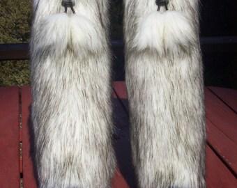 LegVogue Faux Fur Leg Muffs with Poms