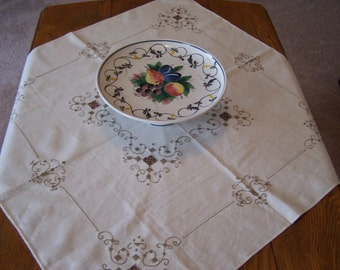 Vintage Embroider Lace Centerpiece Tablecloth, Ivory with Beige Embroidery, Elegance, Linen Tablecloth