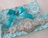 Something Blue Wedding Garter Set, Light Blue Lace Garters, Aqua Teal Bridal Garter, Pearls, Rhinestones, Vintage- Country- Rustic Bride