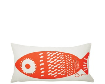Single Tuna 10x20in Lumbar Pillow in Mango Orange
