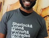 Sherlock Ampersand characters shirt.  Unisex/Men American Apparel sizes small, medium, large, XL and 2XL.