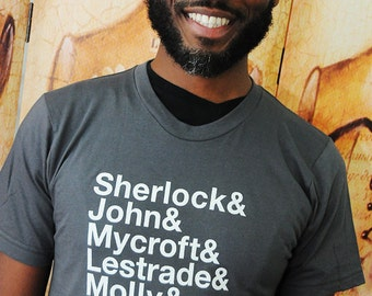 Sherlock Ampersand characters shirt.  Unisex/Men American Apparel sizes medium and large