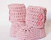 Crochet Baby Booties - Baby Ankle Boots (pink) ready to wear (6-9 months)