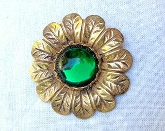 Miriam Haskell Green Glass Gilt Goldtone Sunflower Brooch
