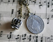 Vintage French Miraculous Medal Crown Charm Necklace