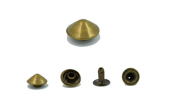 500 pcs.Antique Brass Cone Rivets Stsuds Decorations Findings 8 mm.Co Br 8 RV WY