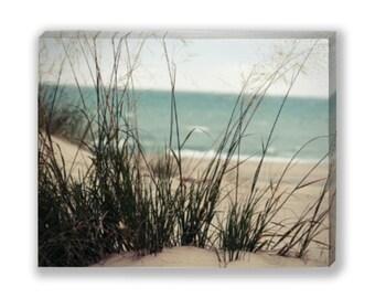 Beach Canvas Art, Large Wall Art, Michigan Dunes Gallery Wrap, Dunes Canvas Print, Teal Pastel Soft Turquoise Aqua Beige Sand Water