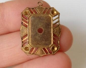 10 Vintage filigree settings. Brass patina metal loop. Lace pendant bead charm drop stone 14 x 10 rectangle 26 x 20 piece