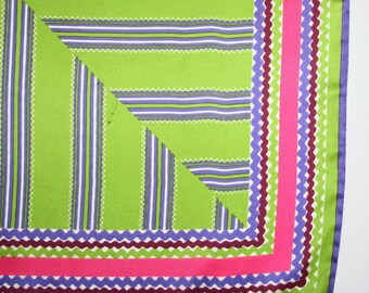 Vera scarf in spring color palette. Linear, geometric, squiggles, spring green, chartreuses, lettuce green, hot pink. violet, plum, white
