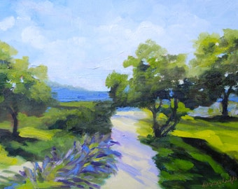 12 x 16 Modern Impressionist Original Oil French Landscape Painting by Rebecca Croft