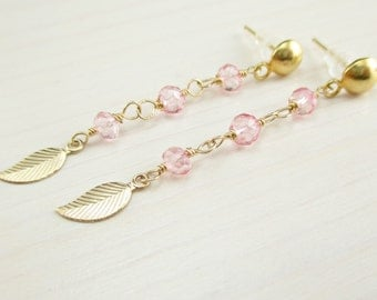 Pink Topaz Earrings, Gold Leaf Charm, Pink Topaz Post Stud, Pink Gemstone, Gold Filled, Gold Leaf Dangle Wire Wrapped Gold Earrings