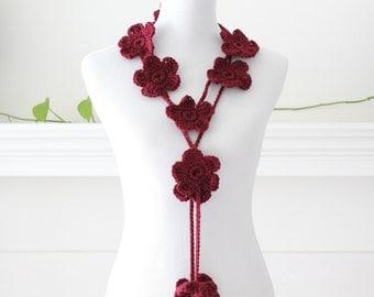 Crocheted Burgundy Floral Lariat, Scarf, Scarflette