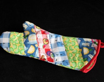 Fun Barbeque Fabric Quilted Oven Mitt