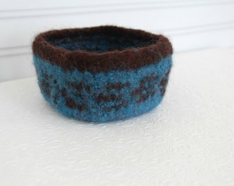 Mini Wool Basket Turquoise and Brown, Knit Felt Storage Basket, Boiled Wool Small Storage Basket, Soft Wool Storage Container, Square Bowl