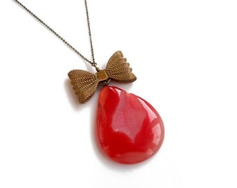 Agate Pendant Necklace, Geode Slice Necklace, Orange Gemstone Pendant Necklace, Bow Necklace