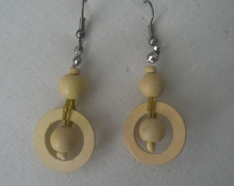 Vintage Hand Crafted Geometric Circle Bead Design Drop Earrings