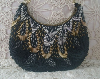 Vintage Black Silk Evening Purse with Gold Black and Silver Glass Beading made in Hong Kong