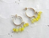 Yellow Gemstone Earrings, Pale Yellow Earrings, Spring Jewelry, Semi Precious earrings, Yellow Agate