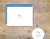 Baby Feet, Baby, BIrth Announcements, Thank You Cards, Baby Thank You Cards, Baby Foot Prints, New Baby, Cards,  Baby Footprints,  Set of 30