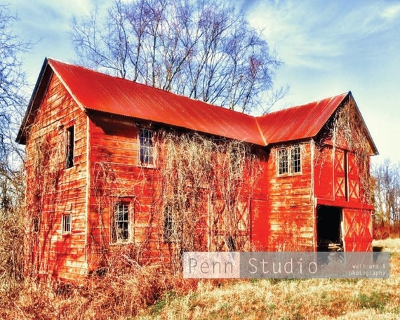 Red Barn Wall Decor : Items similar to barn red abandoned